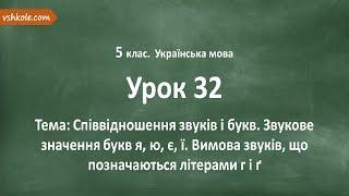 #32 Співвідношення звуків і букв. Відеоурок з української мови 5 клас