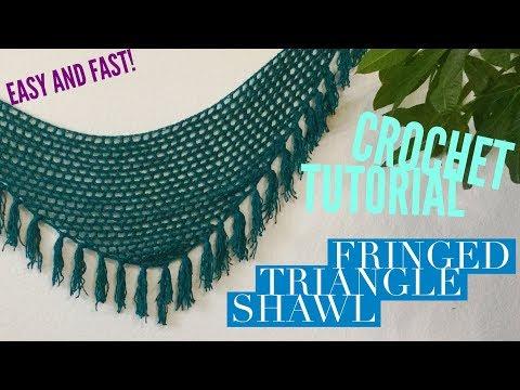 Fringed Triangle Shawl – Easy Free Crochet Pattern Tutorial