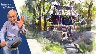 [Eng sub] Watercolor Sketch - Scenery of a backlit shrine / calming art