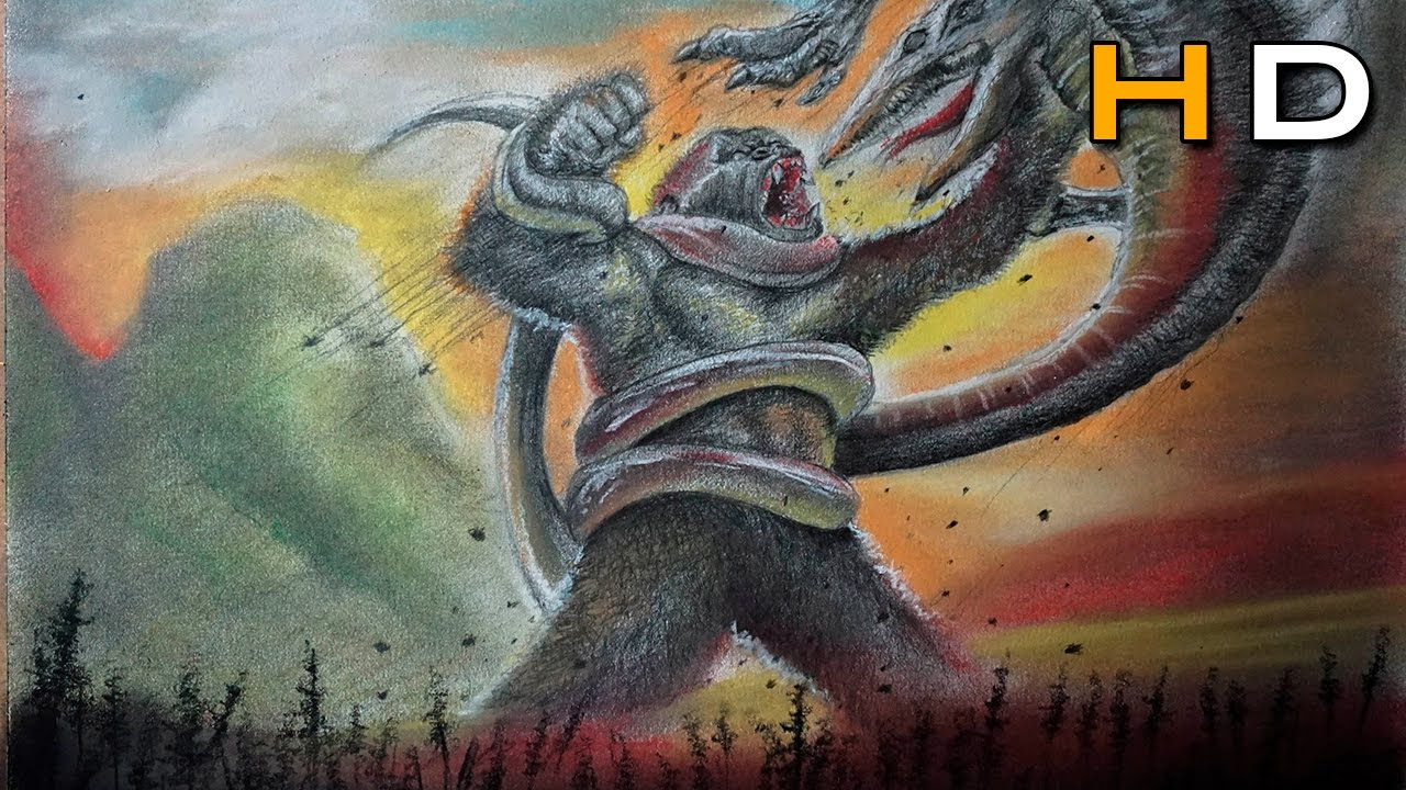 Drawing A Epic Battle Kong Vs Skull Crawler Kong Skull Island