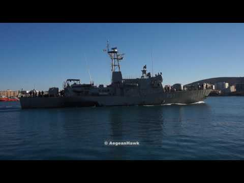 Hellenic Navy Gunboat HS Kasos P57 returning from patrol.