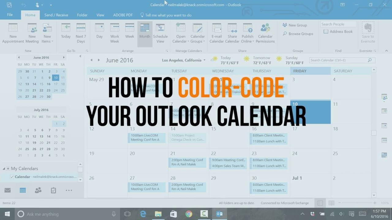 color code your outlook calendar with conditional formatting youtube