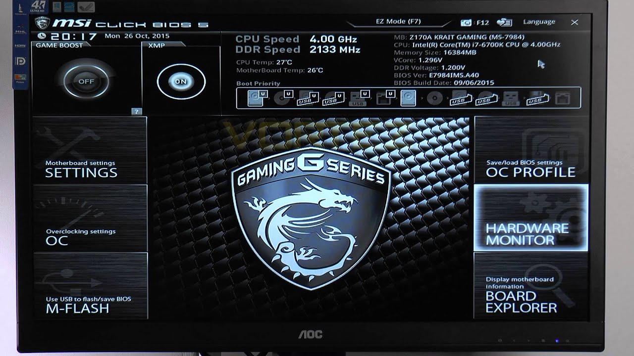 MSI Z170A KRAIT GAMING Review - KRAIT GAMING BIOS Video Tour