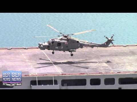 Helicopter Takes Off From RFA Lyme Bay In Bermuda, July 7 2015