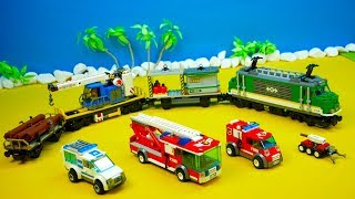 Lego City, unboxing, railway, police, fire department, parking garage, movie for children