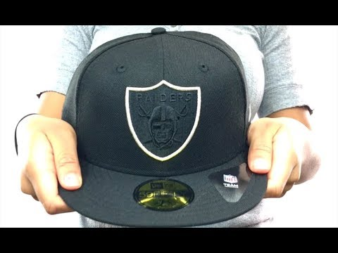 36254d10b09 Raiders  TONAL-POP  Black-Silver Fitted Hat by New Era - YouTube