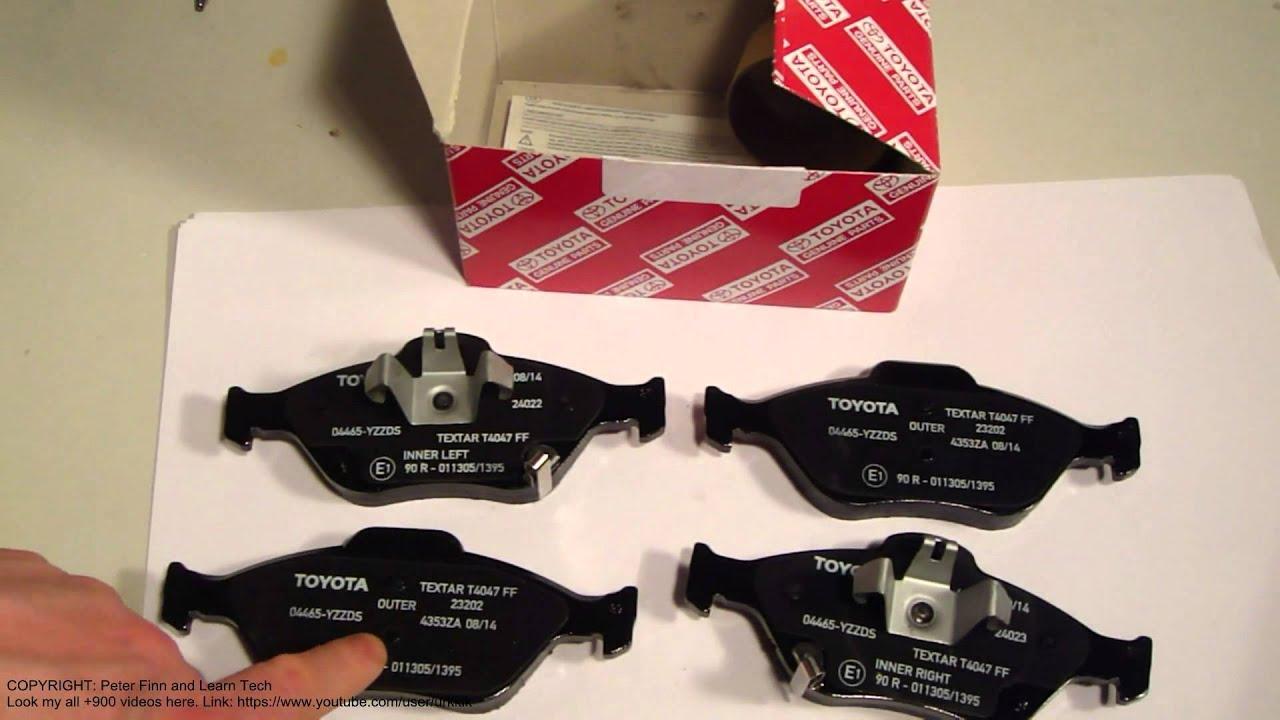 Toyota Brake Pads >> Toyota Yaris front brake pads info years 2005 to 2013