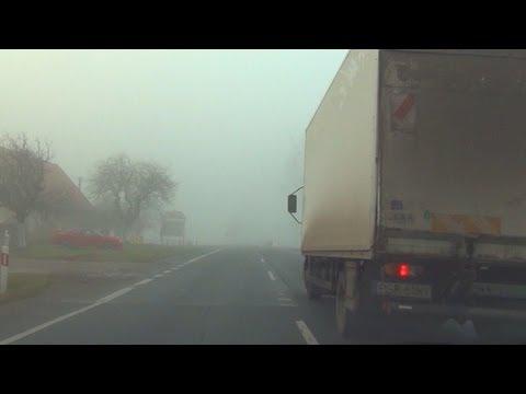 BMW M3 E92 Drive + Overtake + Acceleration on BAD POLISH Foggy Road Autobahn V8 Sound Nebel Fog