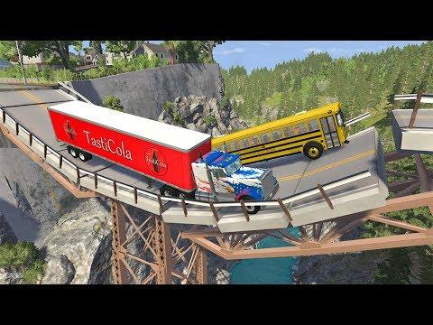 Collapsing Bridge Pileup Car Crashes #28 - BeamNG DRIVE | SmashChan