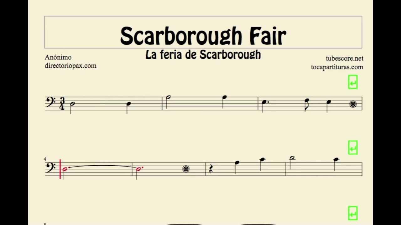 Scarborough Fair Sheet Music for trombone cello basson tube euphonium in bass clef partitura - YouTube