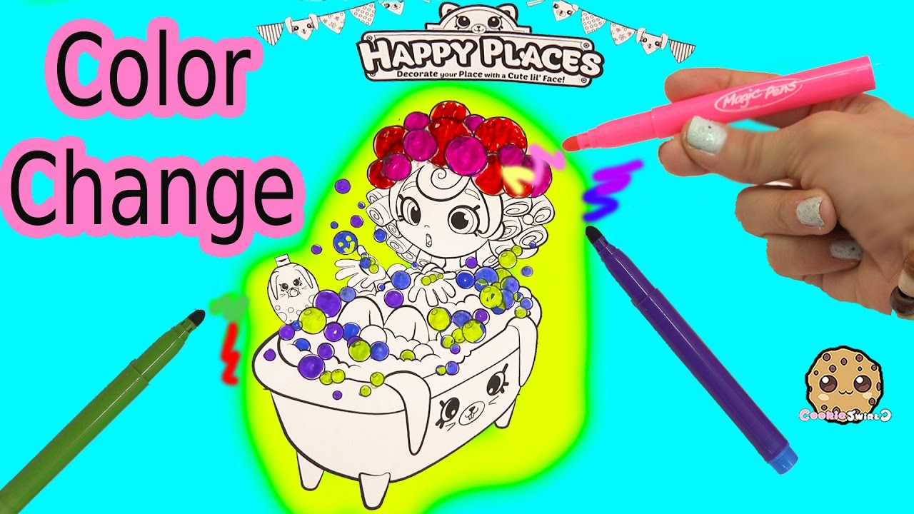 Maker coloring shopkins happy places shoppies doll in bathtub with color changing magic pens youtube