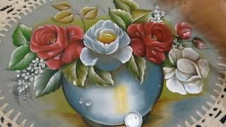 Roberto Ferreira –  Parte 3 – Pintura Rosas Brancas para iniciantes em tecido emborrachado