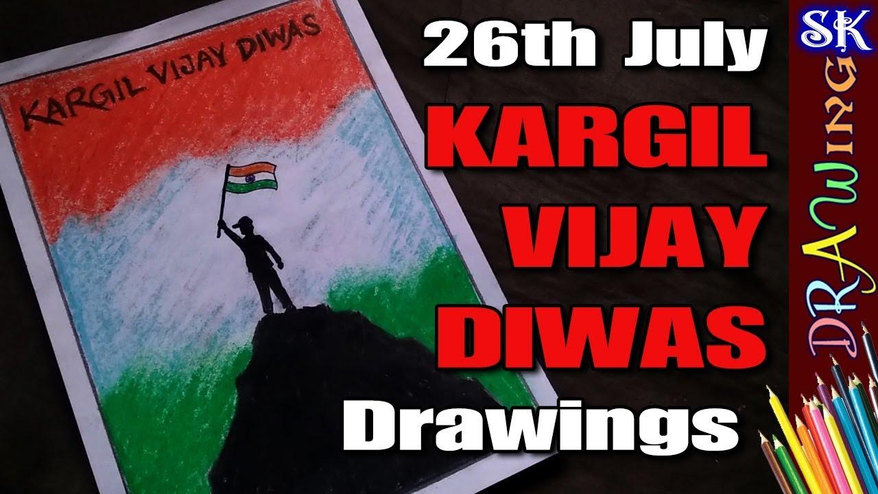 Kargil Vijay Diwas 26th July Special Silhouette Drawing 08 Youtube