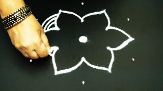 Easy rangoli design with 5x3 middle dots   simple kolam with dots   simple muggulu