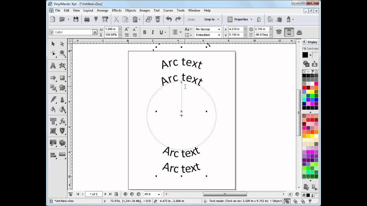 Working With Arc Text In Vinylmaster Youtube