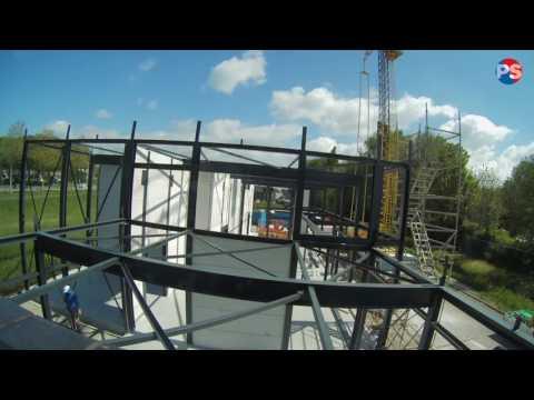 Timelab muren & dak plaatsen PS Marine Coatings Nieuwbouw 2017