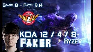 SKT T1 Faker RYZE vs ZOE Mid - Patch 8.14 KR Ranked