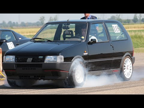 Fiat Uno Turbo 300HP - Burnout & Acceleration  on Drag Strip 1/4 Mile