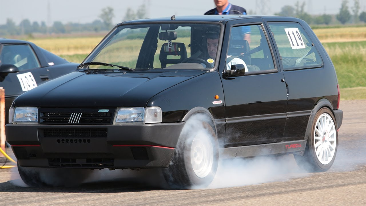 fiat uno turbo 300hp - burnout & acceleration on drag strip 1/4