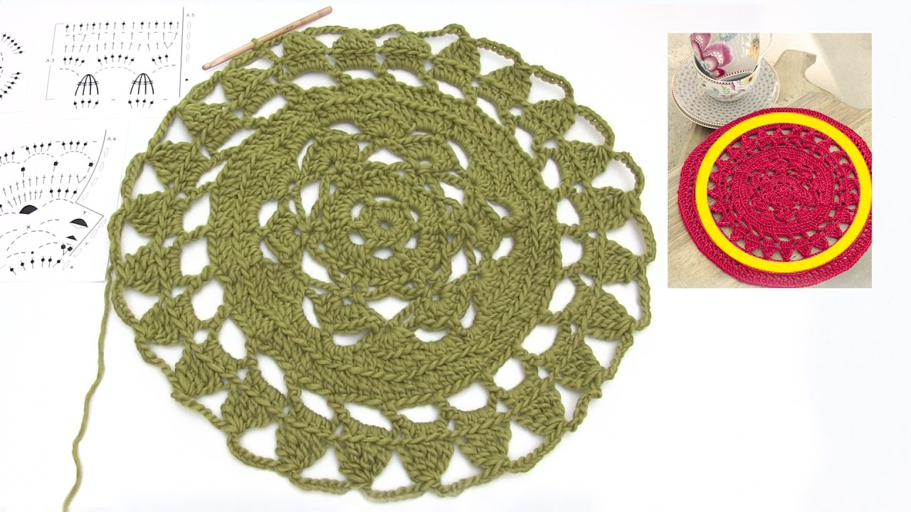 How to crochet the Christmas table cloth in DROPS Extra 0-1334 - YouTube