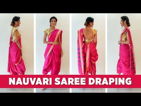 How To Wear A Nauvari Saree - Maharashtrian Saree Draping | Ganesh Puja Saree
