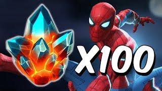 100x Premium Hero Crystal Opening - Stark Enhanced Spider-Man Search - Marvel Contest Of Champions