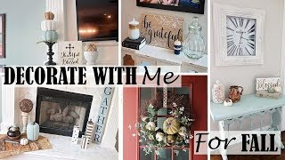 DECORATE WITH ME FALL 2018 - FALL FARMHOUSE DECOR -DOLLAR TREE FALL DIYs