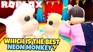 Which NEON MONKEY is the BEST in Adopt Me? Adopt Me Neon Albino Monkey (Roblox)