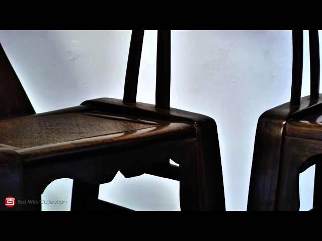Qing Dynasty provincial horseshoe walnut/elm chairs