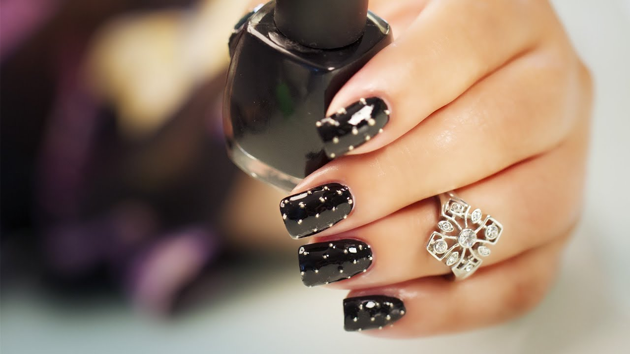 Beads on Black - Nail Art - YouTube