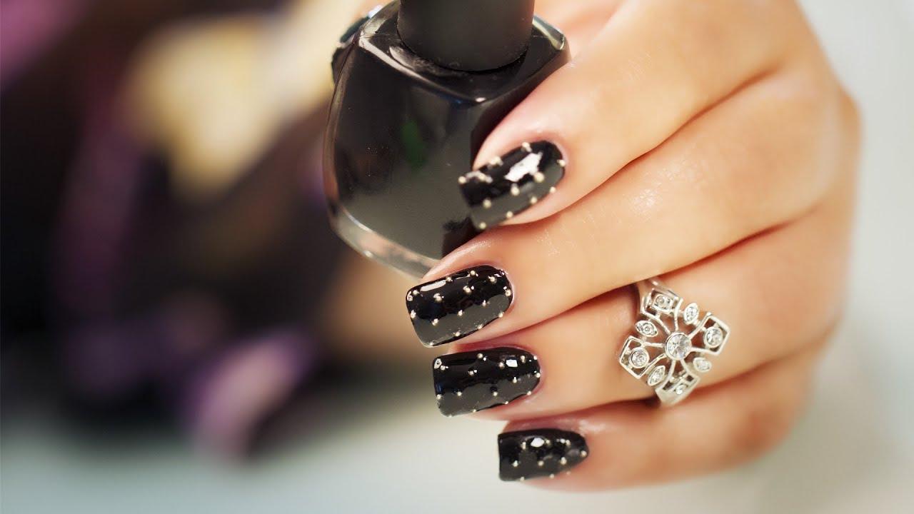Beads on Black - Nail Art - YouTube