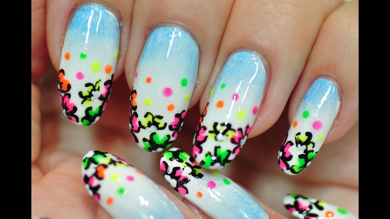 nail art. summer nails. neon flowers