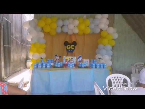 979f6235d Mae Festeira: decoração Mickey baby. Aniversário carlos faz 1. Festa  simples. Festa em casa.