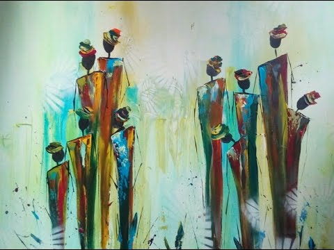 Painting abstract figures, abstrakte Figuren malen