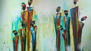 Repeat youtube video Painting abstract figures, abstrakte Figuren malen