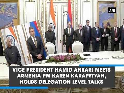 Vice President Hamid Ansari meets Armenia PM Karen Karapetyan, holds delegation level talks