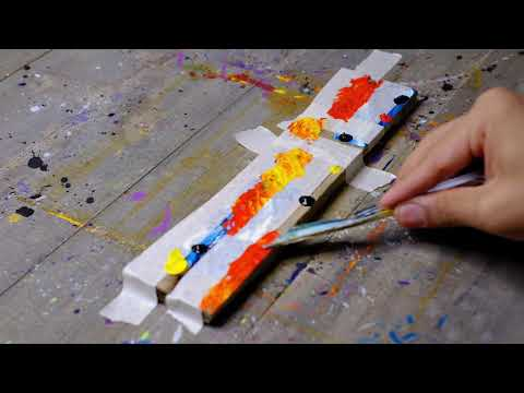 Abstract Painting Demonstration EASY With Masking Tape On Wood