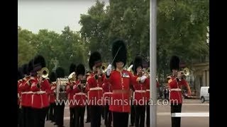 Band of the Scots Guards play the Indian National Anthem at Buckingham Palace