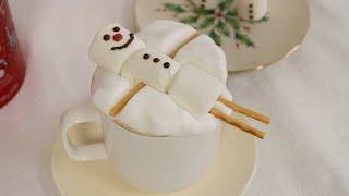 크리스마스 분위기 내며 진한 핫초코 만들기, 눈사람 마…