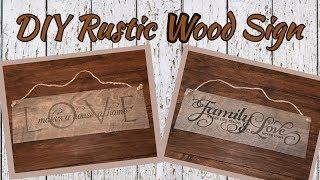 DIY Rustic Wood Sign using Dollar Tree items