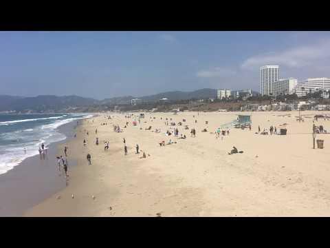 People Enjoying The Beach At Santa Monica Pier California - Free Stock Footage