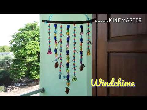 DIY WindChime with Twig-Beads-Sea Shells    Wall Hanging    Room decor    Makes Calming Sound    #70