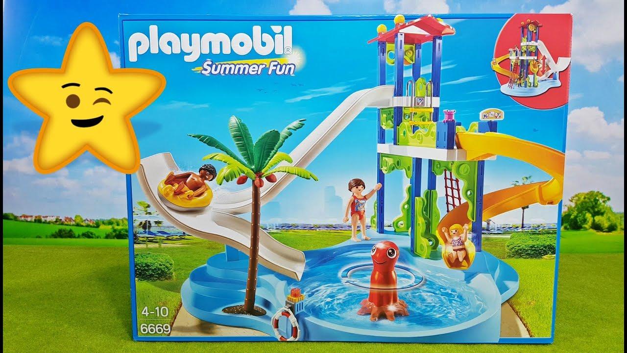 playmobil aquapark schwimmbad 6669 mit rutschen wasserspielzeug empfehlung youtube. Black Bedroom Furniture Sets. Home Design Ideas