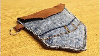 DIY Purse Bag No Sew - Old Jeans Pouch Bag