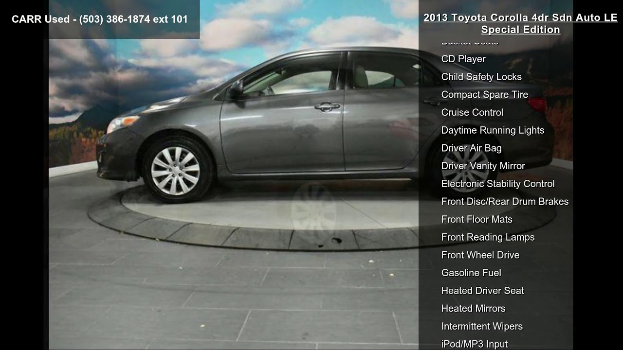 2013 Toyota Corolla 4dr Sdn Auto Le Special Edition Youtube