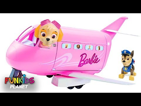 Thumbnail: Learn Colors for Kids: Paw Patrol Skye Saves the Day Flies Barbie Jet Airplane away from Dinosaur