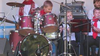 "Drum solo - Drummer Daniel Varfolomeyev 12 years - ""Jazz on the Dnieper"" festival"
