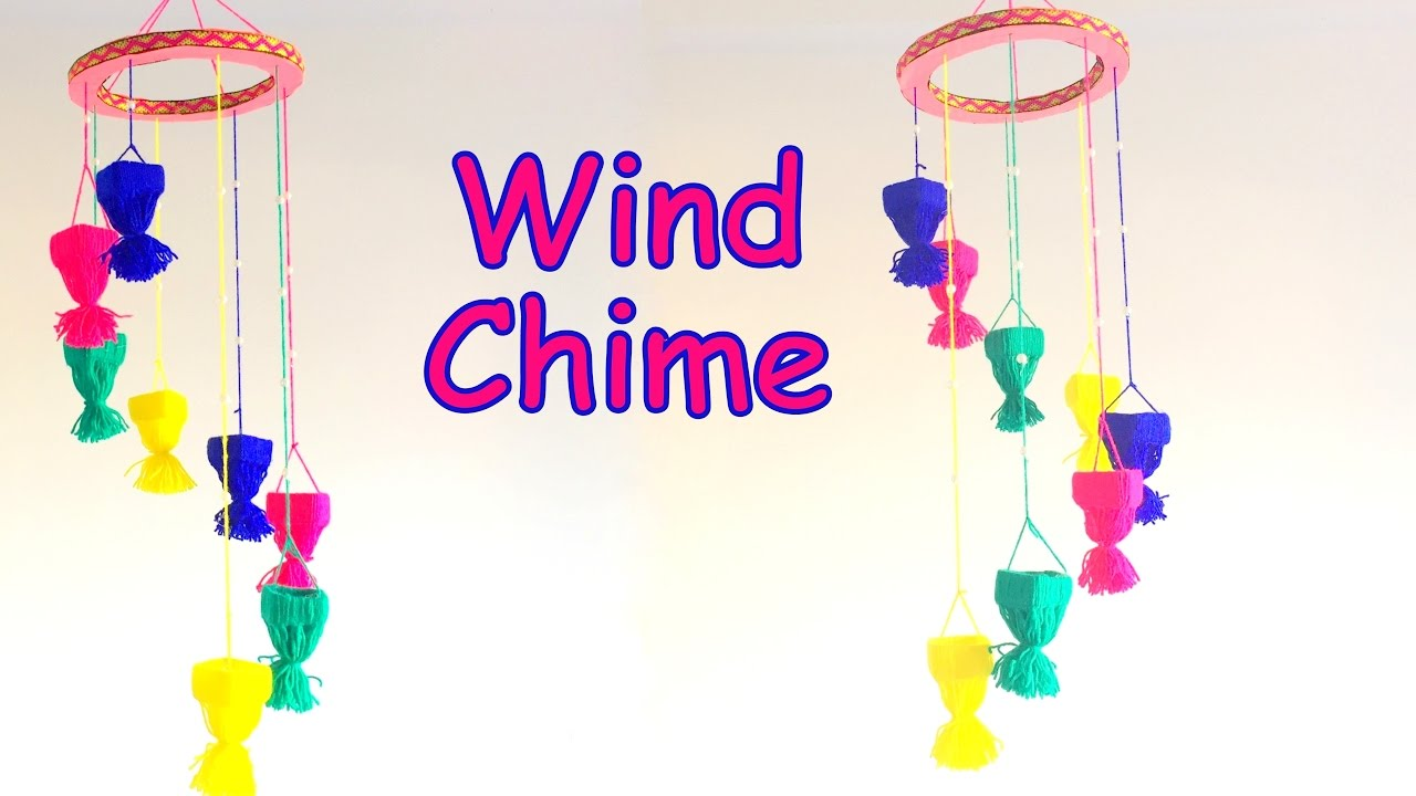 Diy how to make wall hanging wind chime using yarn for Best out of waste craft for kindergarten