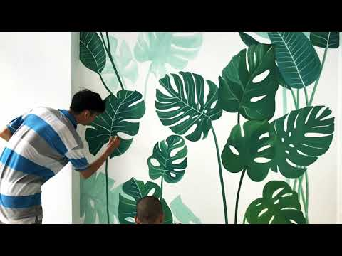 Vẽ tranh tường phong cách Tropical - trang trí biệt thự tại quận Tân Bình !