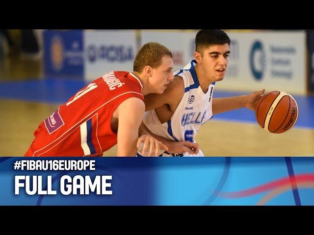 Live   ΕΛΛΑΔΑ - Σερβία 59-55 (video on-demand)  (15.08.2016) Ευρωπαϊκό Πρωτάθλημα Παίδων FIBA U16